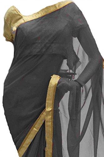 RBS3520 Elegante Saree grigio e marrone chiaro Indian Bollywood Party Saree Grigio
