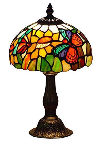 Mariposas Lámpara de Mesa Tiffany,Multicolor,8-Pulgada Diámetro,Paquete de 1