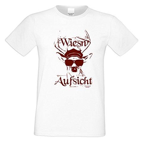 Witziges-Herren-Sprüche-Fun-T-Shirt cooles Volksfest Oktoberfest Party Outfit Motiv Wiesn - Aufsicht auch in Übergrößen Farbe: weiss Weiß
