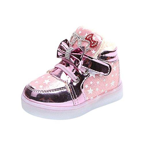 TPulling Mode Junge Und Mädchen Martin Stiefel Herbst Und Winter Kinder Leichte Schuhe Plus Dicke Baumwolle Lässige Schuhe (Rosa, 26)