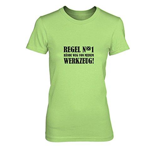 Hände weg von meinem Werkzeug - Damen T-Shirt, Größe: L, Farbe: hellgrün (Lustige Vater Sohn Kostüme)