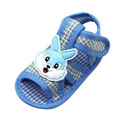 Disaster Newborn Baby Girls Rabbit Applique Prewalker Sandalen mit weicher Sohle Einzelne Schuhe Schwarz, Blau, Grau für 0-16 Monate (0~6 M, Blau) -