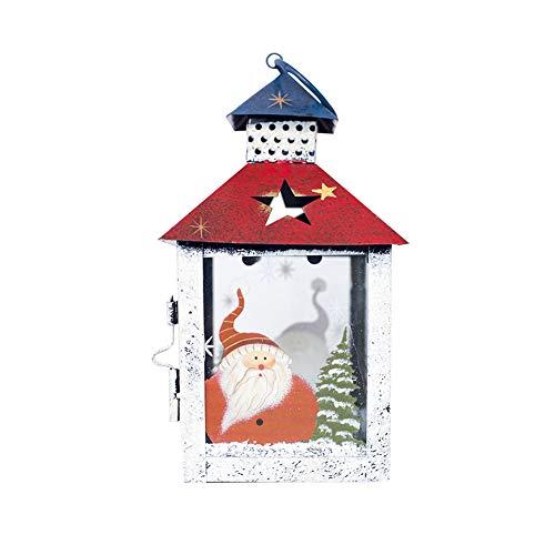 (Homeofying Kerzenhalter mit Schneemann und Weihnachtsmann, Winddicht, Vintage-Design, Party-Dekoration Santa Claus S)