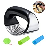 nuosen Garlic Press Stainless Steel Mincer Crusher, Manual Ginger Crusher Squeezer with 2Pcs
