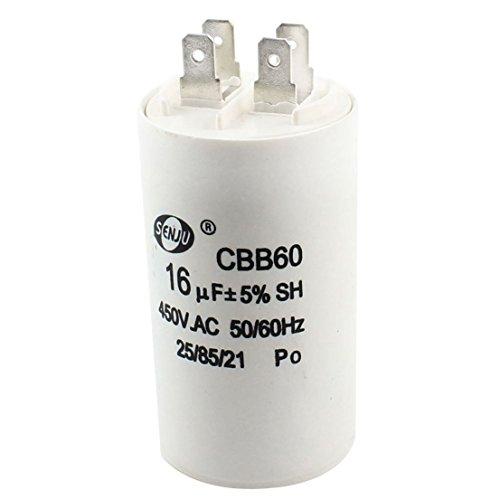 Motor Kondensator - TOOGOO(R)Maschinenwaesche CBB60 Keine Polare AC 450V 16uF 5{fa9c8d8b4638ee4ead6186499088060565fdcfa955261b30bf3a62bd343aaafa} Strom Kondensator Motor Weiss