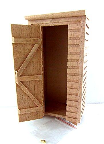 Puppenhaus Miniatur 1:12 unvollendet natürliches Holz klein Gartenhaus Plumpsklo