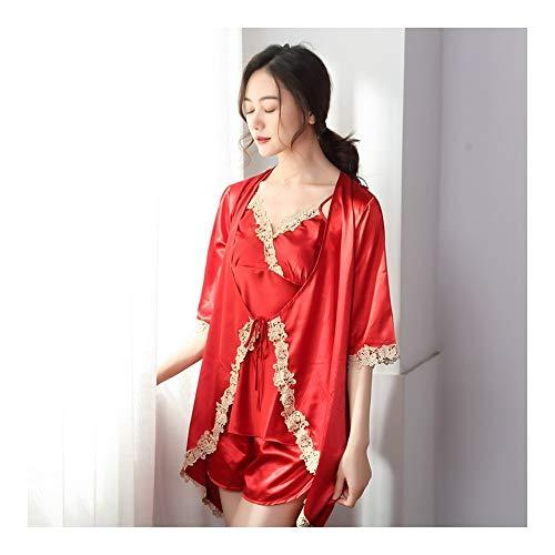 HAOLIEQUAN 3 Stück Damen Pyjama Set Mit Bademantel Nachtwäsche Shorts Damen Nachthemden Spitze Seide Nachtwäsche Dessous Rot Blau Plus Größe Kimono, Rot, M (Seide Größe Plus Bademantel)