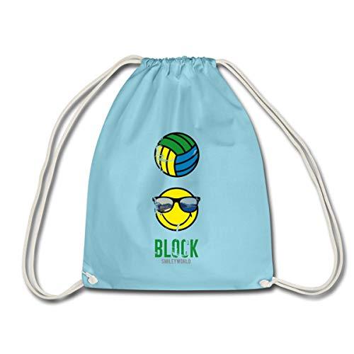 Spreadshirt Smiley World Block Beach Volleyball Turnbeutel, Aqua
