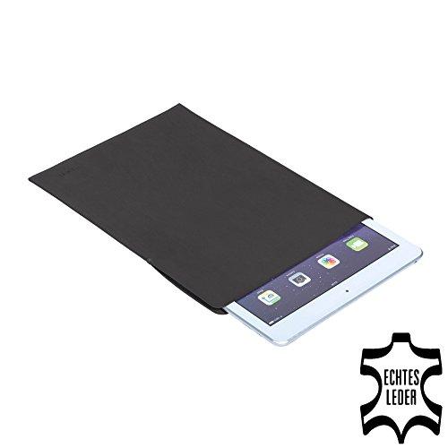 PEDEA Echtleder Tasche/Hülle für Apple iPad Air, Acepad A96, Denver TAQ-80062, Xoro TelePAD 96A3, anthrazit