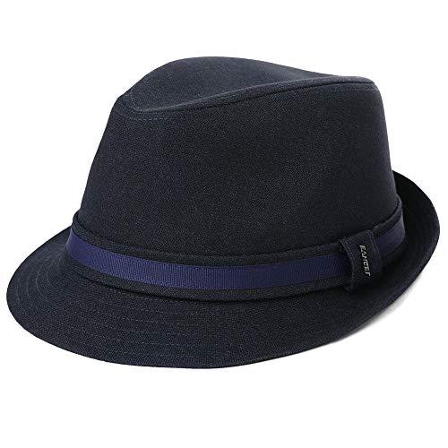 Herren Trilby Hut 1920/1950S Styler Jazz Fedora Hut 58-60 cm Schwarzblau Fedora Trilby Hut