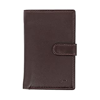 Nuvola Pelle Womens Large Wallet Purse in Soft Leather with Button Closure Coin Pocket and 12 Card Slot Dark Brown