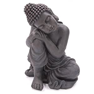 Statuette de bouddha Thaï assis avec tête inclinée sur le genou Convient pour l'intérieur et l'extérieur