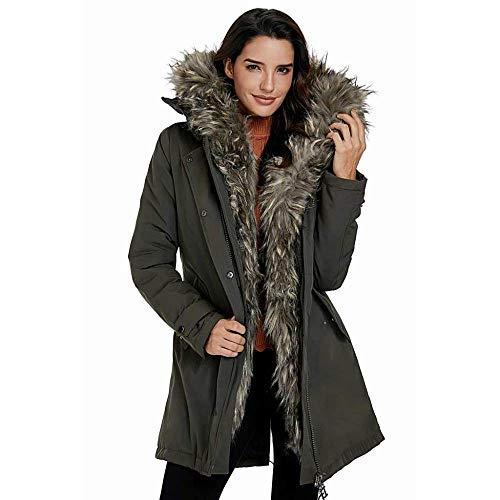 Trim Winter Mantel (KAIDILA Pelz-Trim mit Kapuze Army Green Parka Sturm Mantel Herbst/Winter Dicker Mantel weibliche Strickjacke Zipped Loose Fit Baumwolle Womens Jacket Midi)