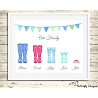 Personalised Wellington Boots Family Watercolour Premium Print Picture A5, A4 & Framed Options, Welly Art - Design 3