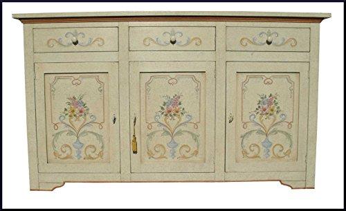 Credenza madia classica dipinta e decorata a mano in stile provenzale
