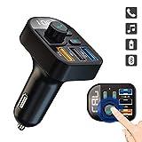 ULTRICS FM Trasmettitore Bluetooth per Auto, 3 USB Port FM Transmitter Caricabatterie Auto Quick Charge 3.1 Adattatori Vivavoce Car Kit con Display LED per Radio MP3 Micro SD Cellulari Tablet e Altro