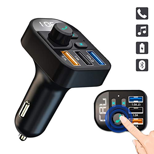 3 Universal-fm-transmitter (ULTRICS Bluetooth FM Transmitter, 3 USB 3.1A Schnellladung KFZ Ladegerät USB, Auto Radio Adapter MP3 Player mit Freisprecheinrichtung Mikrofon Car Kit Kompatibel mit iPhone X/XR/XS und Samsung S9/S8)