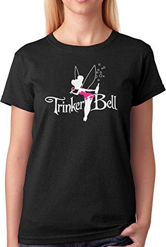 ex Fun T-Shirt Trinkerbell Märchen Fee Parodie Plus Geschenkkarte, Größe:L, Farbe:Schwarz/Weiß (Frauen Lustige Kostüme)