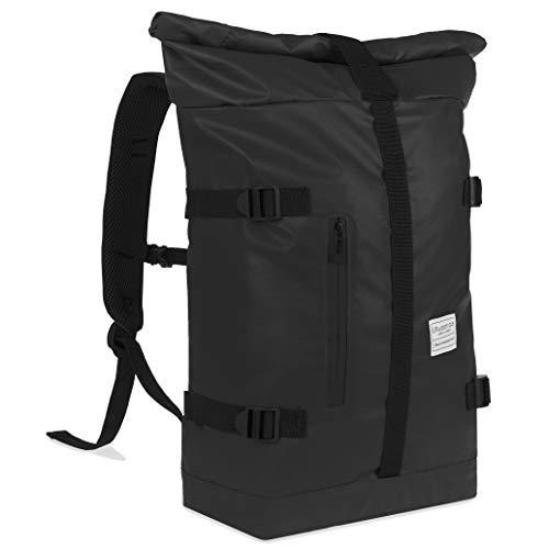 urban ace | Street Classics | Hochwertiger Roll Top Rucksack, Daypack | Damen, Herren | für Freizeit, Schule, Uni, Büro | mit Laptopfach | Gepolstert | in schwarz