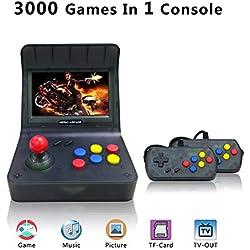 YLM Console de Jeux Portables, Console de Jeux Retro 4.3 Pouces 3000 Console De Jeux Classique TV Output Game Console with 2PCS Joystick , Les Cadeaux Les Enfants(T-Noir)