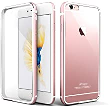 Cover iPhone 6s, Roybens® Metallo Silicone 2 in 1 Trasparente Cover Ultra Sottile Antiurto Custodie per Apple iPhone 6 e iPhone 6s, Oro Rosa [Rose Gold]