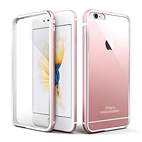 iPhone 6s plus Hülle, Roybens Metall Silikon 2 in 1 Extra Dünn Stoßfest Durchsichtig [Transparent] Schalen Clear Taschen für Apfel [Apple] iPhone 6 plus und iPhone 6s plus, Rosa [Rose Gold / Pink]