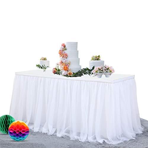NSSONBEN Tüll Tischrock Weiß Tütü Tischröcke Für Hochzeit Geburtstag Party(L275cm*H77cm)
