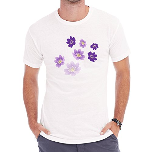 Flowers Nature Blossom Plant Purple Herren T-Shirt Weiß