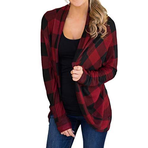 VJGOAL Damen Jacke, Damen Mode Unregelmäßige Gitter Print Long SleeveAutumn Mantel Outwear Casual...