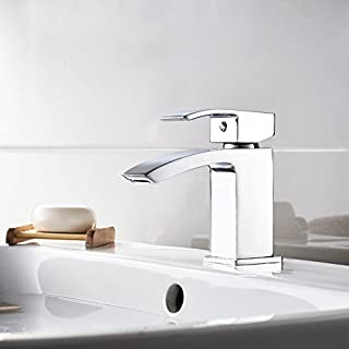 Modern Mini Mono Basin Sink Mixer Tap Curved Spout Lever Handle Chrome Cloakroom