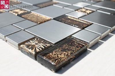 1 Matte Glasmosaik Mosaikfliesen Edelstahl Gold Braun Getönten Schwarz Silber von Bador auf TapetenShop