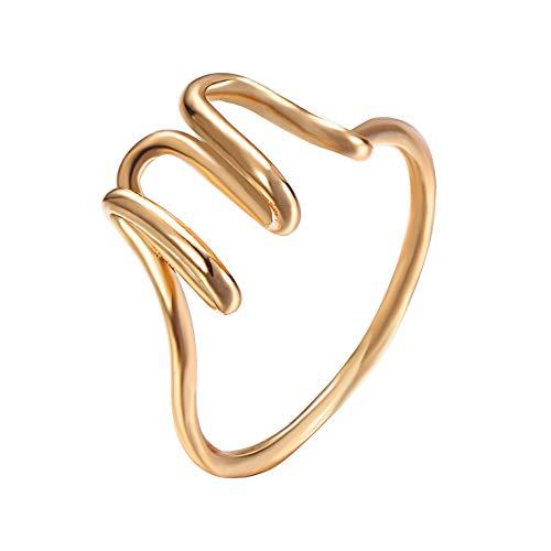 DishyKooker Damen Ring mit Buchstaben-Design Gold M
