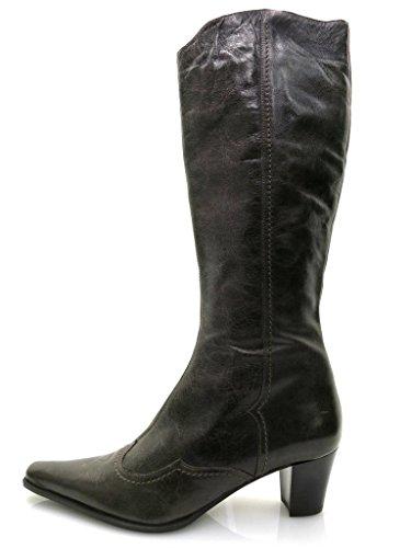 Lamica Bottes En Cuir Chaussures En Cuir Bottes Cuissardes/bottes À Tiges Longues Chaussures Femme 2876 Marron
