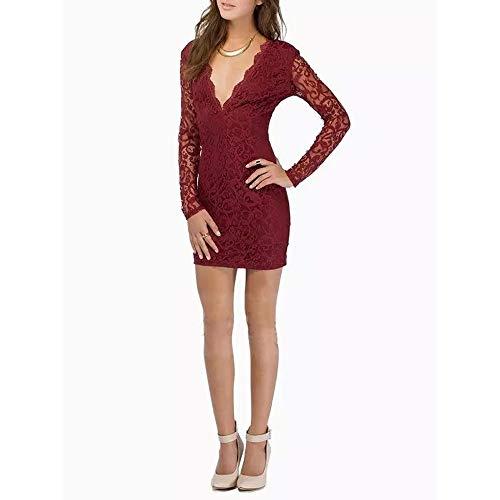 Damen Sexy Kleid,VRTYOC Sommer V-Ausschnitt Spitzenkleid Lange Ärmel Zurück öffnen Partykleid Hüftkleid Einfarbig kleid Reißverschluss -