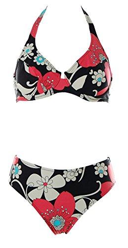 Blonde Damen Neckholder Bügel Bikini Flower Print Schwarz Creme Rot