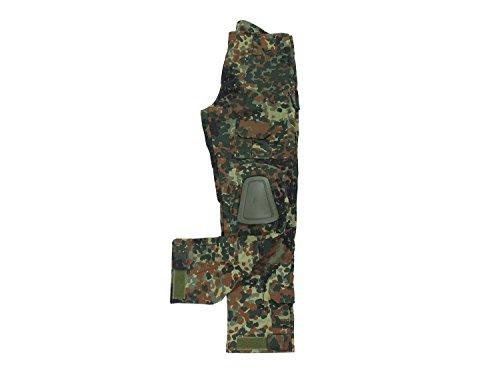 BEGADI Basics Combat Pants/Hose, mit 10 Taschen & abnehmbaren Knieschonern - Flecktarn -