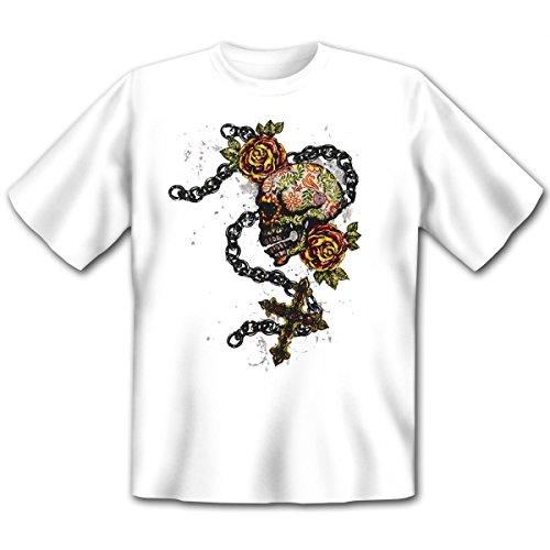 Mexika Stuff - Damen und Herren T-Shirt mit dem Motiv: Fiesta skull cross Größe: Farbe: weiss - von van Petersen Shirts Weiß