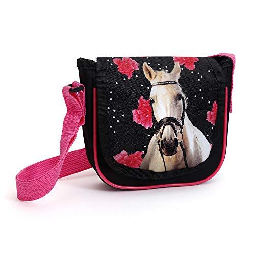 Kinder Handtasche 17x15x4 cm - Motiv Pferd & Rosen - SCHWARZ/PINK