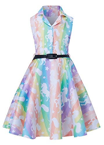 RAISEVERN Teen Girls ärmellos 50er Jahre Vintage Kleid bis zum Knie ausgestellt eine Linie Minikleid für Geburtstagsfeier Regenbogen Einhorn