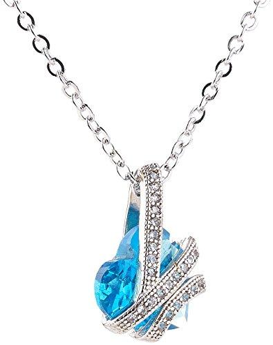 St. Leonhard Kette: Halskette mit blauem Zirkonia-Herzanhänger und Schmucksteinen, 45 cm (Modeschmuck-Kette)