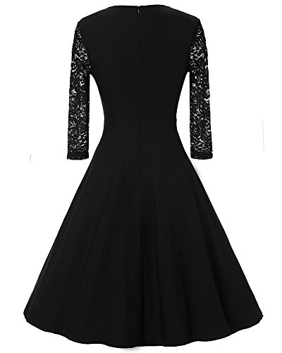 Damen Kleider 3/4 Arm Spitzenkleid Knielang Festlich Cocktail Abendkleid Schwarz