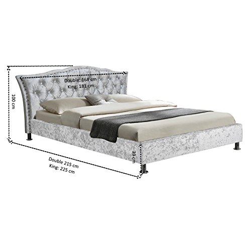 Cherry Tree Furniture AMARI Crushed Velvet Bed Frame with Tufted Diamante Headboard (Silver, 4FT6 Double)
