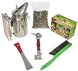 Imkado Imker Set XL - Premium Edelstahl-Smoker, Stockmeißel, Bienenbesen, Multifunktionswerkzeug, Rauchstoff und Anzünder