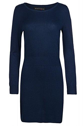 melrose Kleid Strickkleid Feinstrick Regular Fit Rundhals Blau, Größenauswahl:42