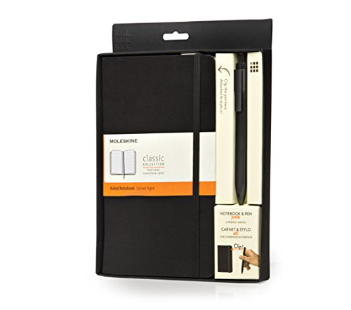 Moleskine Classic Notebook and Pen Pack: Large, Ruled Notebook and Fine 0.5 Mm Pen, Black