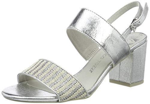 MARCO TOZZI 2-2-28308-22, Sandali con Cinturino alla Caviglia Donna, Rosso (Mauve Comb 526), 36 EU