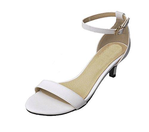 Honeystore 2016 Neuheiten Damen Knöchelriemchen Sandalen Peep Toe Absatzschuhe Weiß
