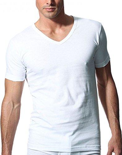 Maglietta manica corta collo a V confezione bipack art. 601418 Bianco