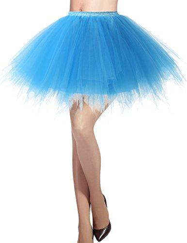 (Dresstells Damen Tüllrock 50er Rockabilly Petticoat Tutu Unterrock Kurz Ballett Tanzkleid Ballkleid Abendkleid Gelegenheit Zubehör Blue L)