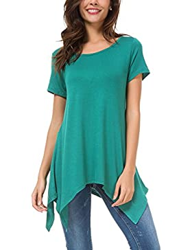 Urban GoCo Donna Casual Tunica Tops T-Shirt Comoda Basic Orlo Irregolare Camicia Maglietta